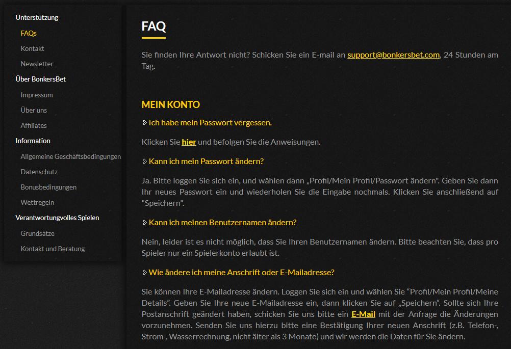 Bonkersbet Casino FAQ Erfahrungen