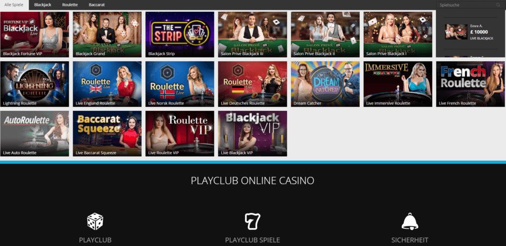 PlayClub Live Casino Erfahrungen