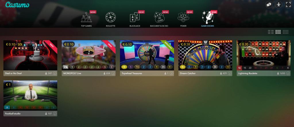 Casumo Live Casino Spielauswahl