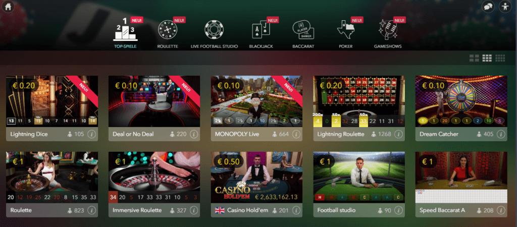 ComeOn Live Casino Spielauswahl Erfahrungen