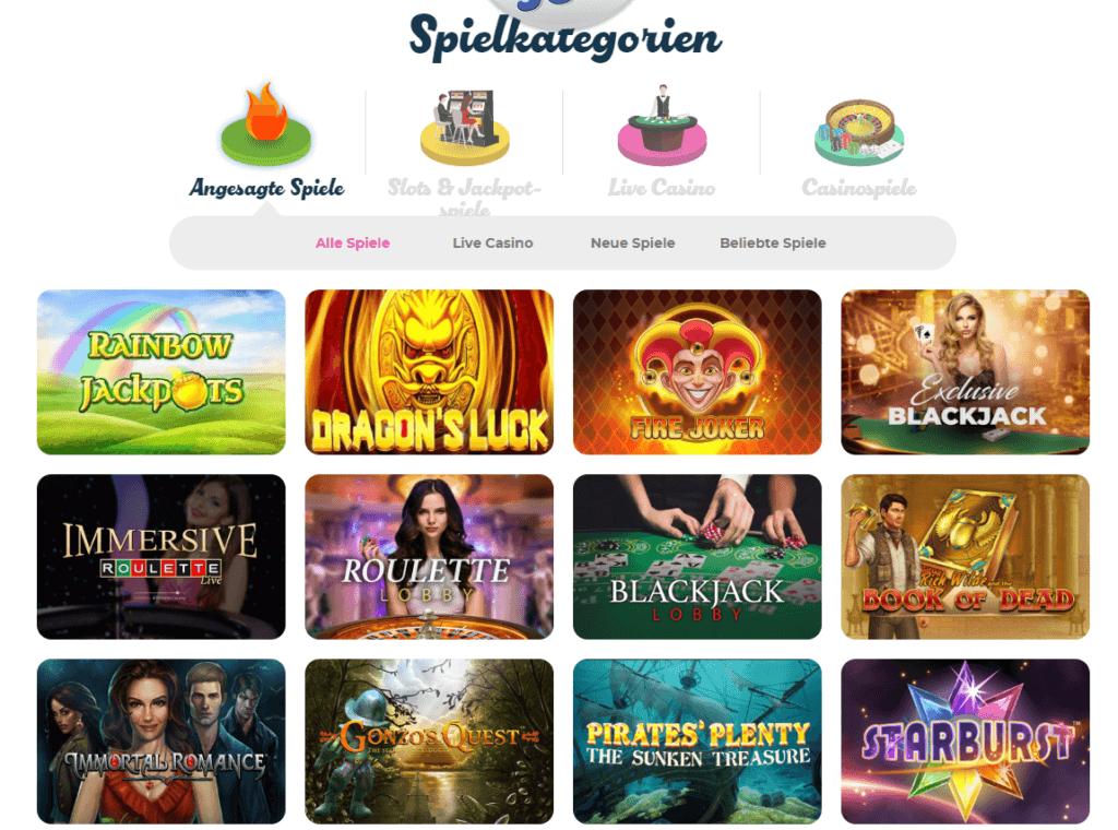 CasinoJoy Spielauswahl