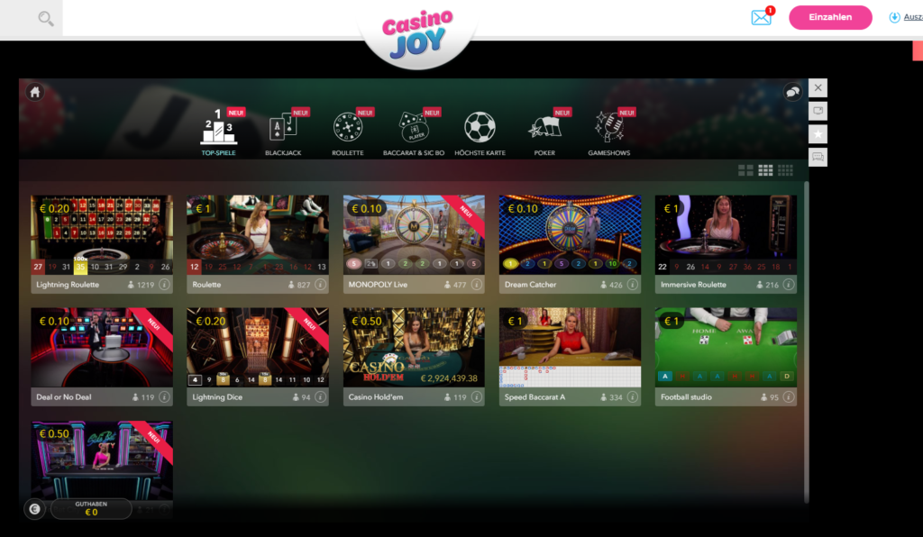 CasinoJoy Live Casino Lobby