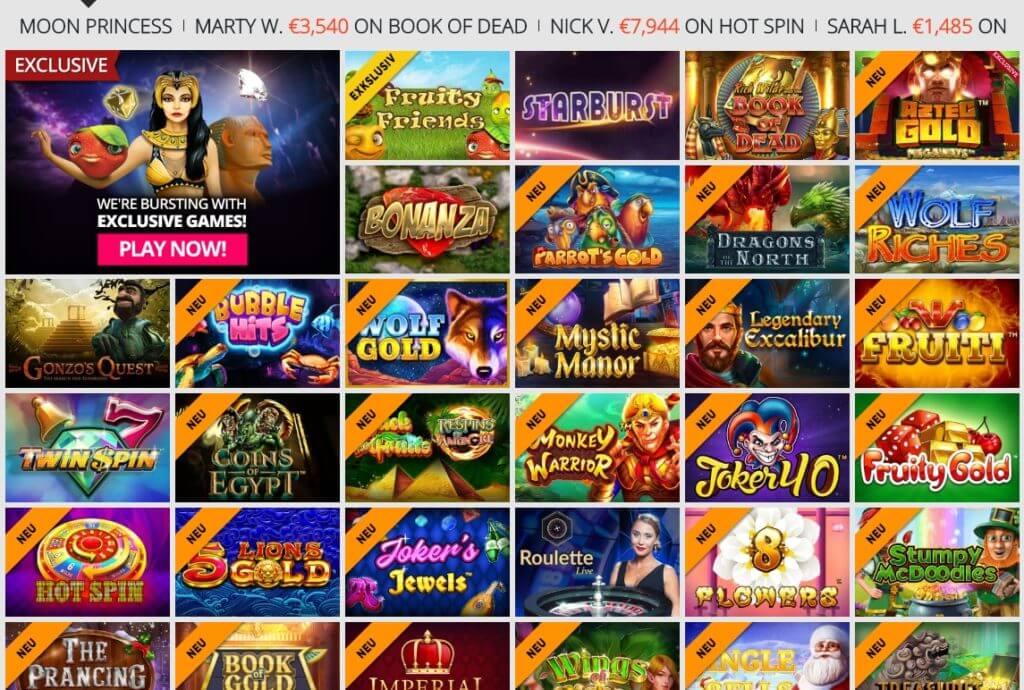 Spielangebot bei Casinoluck