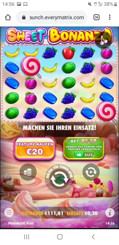 Sweet Bonanza Start mit 111€
