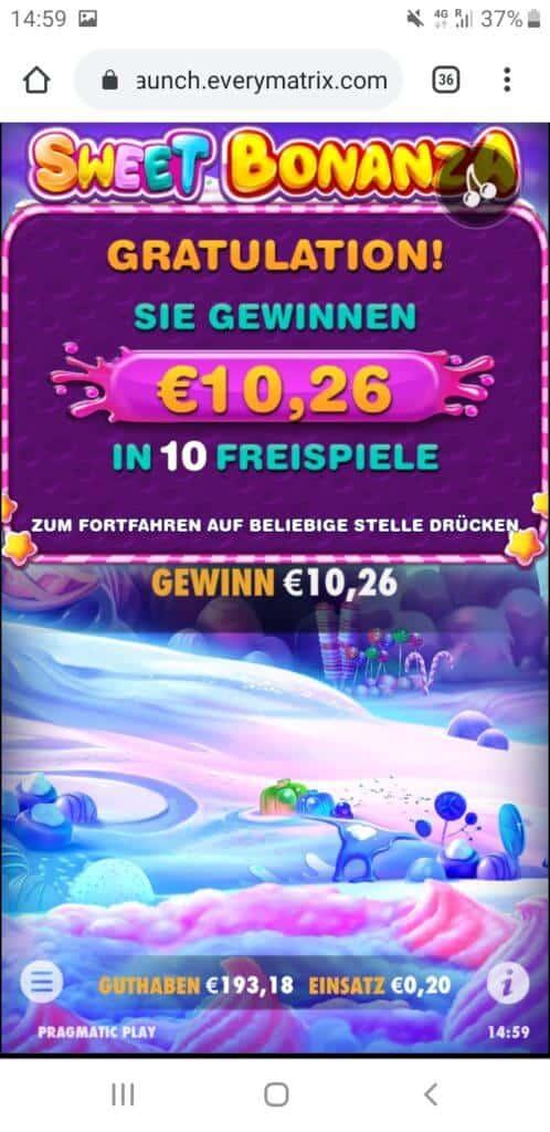 Sweet Bonanza Nach Runde 2 10,26€ Gewinn