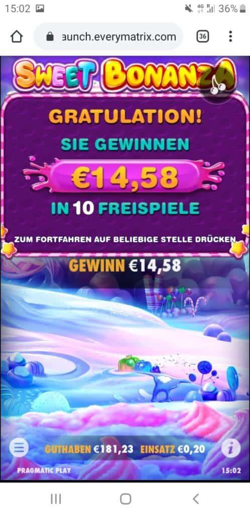 Sweet Bonanza Nach Runde 5 14,58€ Gewinn