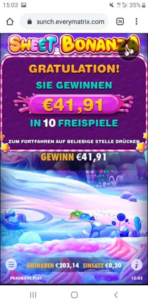Sweet Bonanza Nach Runde 6 41,91€ Gewinn