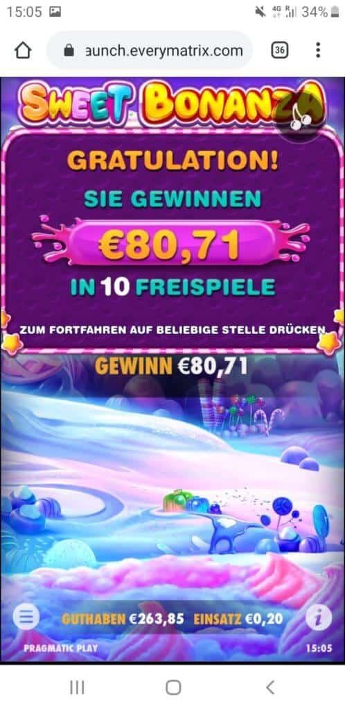 Sweet Bonanza Nach Runde 7 80,71€ Gewinn