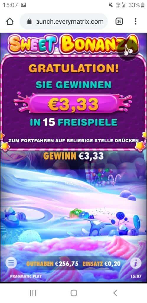 Sweet Bonanza Nach Runde 9 3,33€ Gewinn (15 Spins)