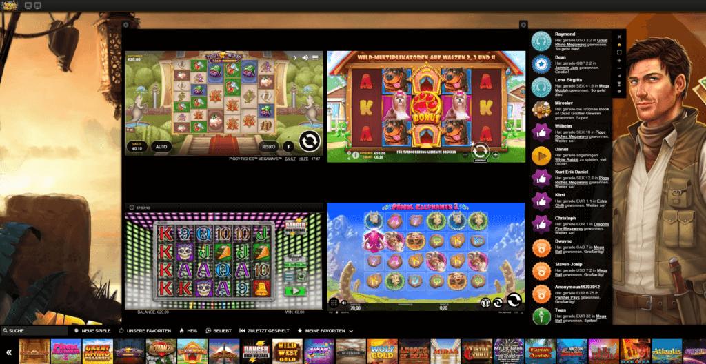 Videoslots Casino mit mehreren Slots - Multi Slot Feature